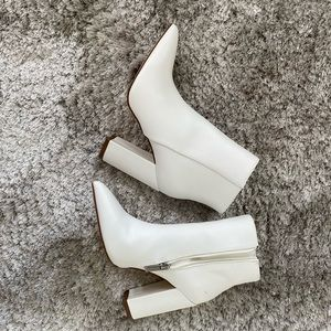 White JustFab Leather Booties 6.5